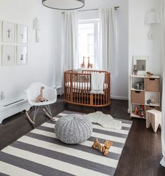 25 Creative and Beautiful Nursery Design Ideas via Brit + Co. White and natural wood nursery with an oval crib Wood Nursery, Nursery Modern, Nursery Neutral, Nursery Room, Modern Nurseries, Grey Nurseries, Minimalist Nursery, Girl Nursery, Wood Crib
