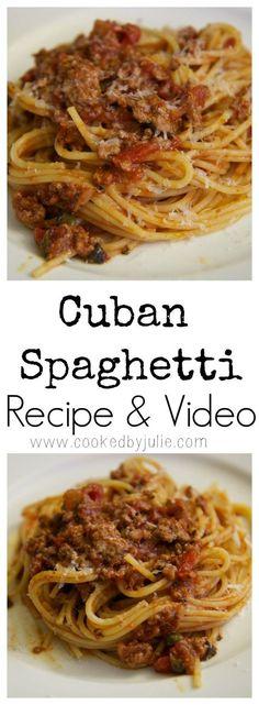 Cuban Spaghetti - The Best Cuban Recipes Spaghetti Recipes, Pasta Recipes, Beef Recipes, Dinner Recipes, Cooking Recipes, Mexican Spaghetti, Recipies, Baked Spaghetti, Dinner Ideas