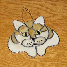 Stained Glass Suncatcher  Cat Head and Paws Yellow by GLASSbits, $35.00