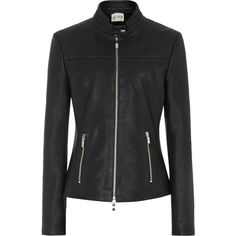 Reiss Gerswin Cropped Leather Jacket found on Polyvore