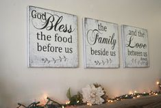 A set of three wood signs for your home. Each sign in the set measures 10 x 10, 12 x 12, 16 x 16, 18 x 18 or 20x 20. The background is painted white and wording is Black with Gray leaf design.  I will handpaint, sand for a distressed/shabby chic look and seal each piece. The backs are left unfinished and each comes ready to hang with sawtooth hanger.  Thanks so much for looking