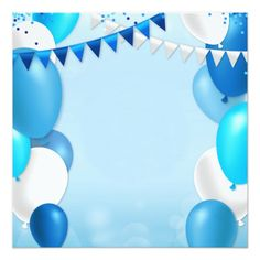 Blue balloons and party flags card - invitations custom unique diy personalize occasions Happy Birthday Blue, Happy Birthday Wallpaper, Happy Birthday Signs, Birthday Clipart, Birthday Cards, Birthday Tarpaulin Design, Birthday Background Design, Balloon Background, Party Flags