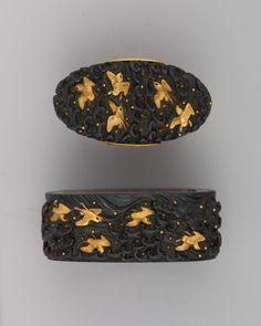 "the-met-art: "" Sword-Hilt Collar and Pommel (Fuchigashira) via Arms and Armor Medium: Copper-gold alloy (shakudō), gold Gift of a Trustee of the Museum, 1917 Metropolitan Museum of Art, New York,..."