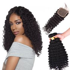 Marchqueen Brazilian Virgin Hair Deep Wave 3 Bundles with Closure 4x4 Natural Black Color 1b#