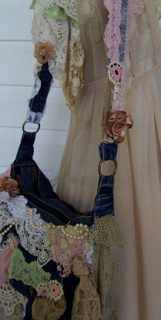 Denim Lace and Pearls Bag by TeasHopeChest on Etsy, $55.00