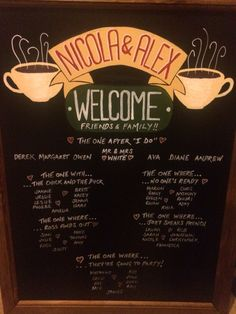 hand drawn chalkboard by Made Marvellous Friends Themed Wedding, Our Wedding Day, Wedding Table, Wedding Receptions, Ceremony Decorations, Table Plans, Bat Mitzvah, Hand Drawn