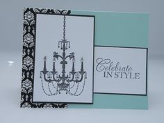 Chandelier Birthday Card in Blue and Black by APaperParadise, $4.25