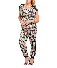 Look what I found on #zulily! Black & Yellow Floral Cap-Sleeve Jumpsuit -Women & Plus #zulilyfinds