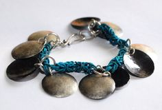 Verdigris copper chainmaille bracelet with hammered silver discs by DeannaKJohnson, $125.00