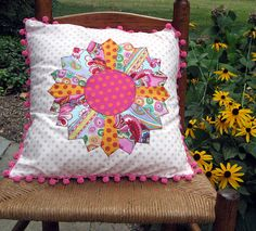 Crazy Dresden Plate Pillow by Julie Antinucci, via Flickr