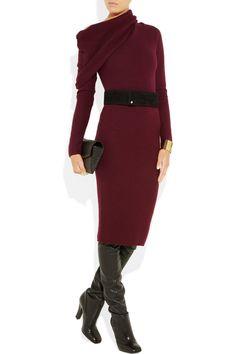 Haider Ackermann Draped Fleecewool Dress in Purple (merlot)   Lyst