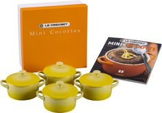 LE CREUSET SET OF 4 SOLEIL YELLOW STONEWARE MINI COCOTTES AND COOKBOOK