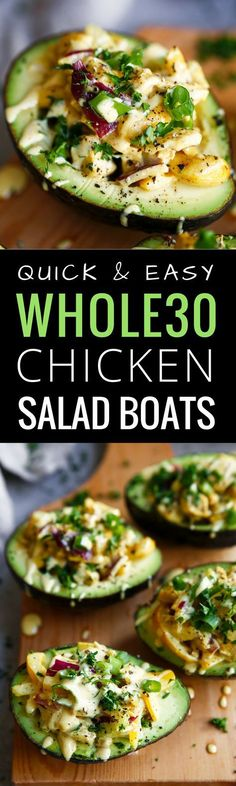 5 minute Whole30 lunch on the go! Easy whole30 chicken salad boats- filled with veggies, topped with fresh herbs and SO healthy and easy to make!
