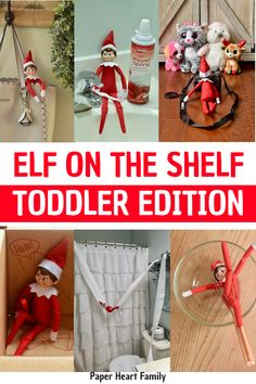 2019 Elf On The Shelf Ideas For Toddlers (Easy Yet Awesome Elf Poses) - Easy Elf on the Shelf ideas for toddlers to make your child's holiday extra fun while also keeping your nights stress free. These Elf on the Shelf ideas take minutes to implement! Elf On The Self, The Elf, Toddler Christmas, Christmas Elf, Christmas Ideas, Holiday Ideas, Christmas Decorations, Christmas Wrapping, Outdoor Christmas