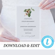 Rustic Wedding Invitation Template, Rustic Wedding Invite, Orchard Printable Wedding Invitation DIY Templett PDF Instant Download Editable by PearlyPaperDesign on Etsy https://www.etsy.com/se-en/listing/607993819/rustic-wedding-invitation-template