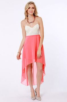 We've hemmed in our favorite looks for the year into the Modish of the Day Ivory and Coral Pink Dress! Ivory lace bustier bodice pairs with a coral pink skirt. Next Dresses, Cute Dresses, Junior Cocktail Dresses, Coral Pink Dress, Bustier Dress, Strapless Dress, Online Dress Shopping, Chiffon Skirt, Dress Me Up