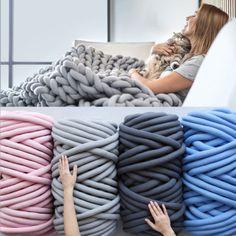 Details about Bulky Arm Knitting Wool Chunky Wool Yarn Super Soft Roving Crocheting DIY UK, Chunky Yarn Blanket, Hand Knit Blanket, Chunky Wool, Knitted Blankets, Wool Blanket, Knitting Wool, Arm Knitting, Wool Yarn, Merino Wool