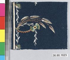 Sample Date: early 19th century Culture: French Medium: Silk on felt Dimensions: L. 3 7/8 x W. 3 1/4 inches 9.8 x 8.3 cm Classification: Textiles-Embroidered Credit Line: Gift of The United Piece Dye Works, 1936