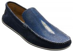 """David X """"Ray"""" Blue / Blue Stingray Suede Loafers"""
