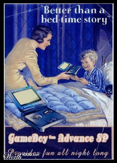 Retro ad for GBA SP (it was even the first nintendo handheld with a lit screen!)