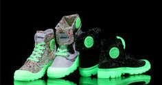 Poussant toujours les limites de la mode Palladium a fait équipe avec la légendaire boutique de baskets Atmos, pour créer une collection capsule de lueur dans les bottes Semelle sombres. #Chaussures #Phosphorescentes