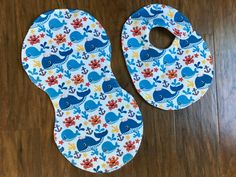 Baby Burp Cloth Bib Set, Baby Shower Gift, Ocean Bib and Burp Cloth, Whales Bib/Burp Cloth, Gender Neutral, Baby Branch Boutique http://etsy.me/2E8JdYv #children #baby #feeding #blue #babyshower #white #babyshowergift #burpcloth #bib