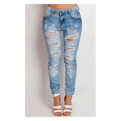 Gracie Ripped Skinny Jeans at http://www.ikrush.com ($36) ❤ liked on Polyvore featuring jeans, pants, bottoms, ripped skinny jeans, stretchy jeans, distressed skinny jeans, stretch denim skinny jeans and destroyed skinny jeans