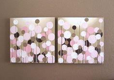 Rosa und braun strukturierte Blumen - diese extra großen Satz von abstrakten Blumen hat eine insgesamt Abmessung von 20 x 40(jedes Bild ist 20 x 20) und macht eine große Aussage in einem rosa und braun Kinderzimmer. Diese Stücke sind voll von dicken pastosen Textur (Sie können eine