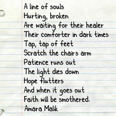 Follow for more poetry by @amaramalikpoetry on Instagram and Pinterest for more! #poetry #poetrycommunity #amaramalikpoetry  #Regram via @www.instagram.com/p/BLTtIPpgDCu/ Healer, Patience, Poetry, Faith, Instagram, Loyalty, Poems, Poem