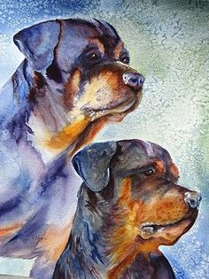 Chance and Tiller by Donna Martin Watercolor ~  x