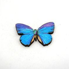 Purple Butterfly Brooch Wood Accessory by LaurasJewellery on Etsy, £6.00