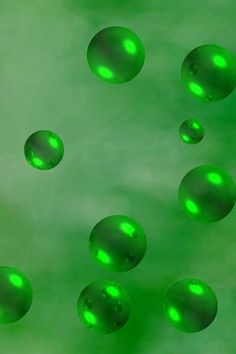 Suspended Green Marbles