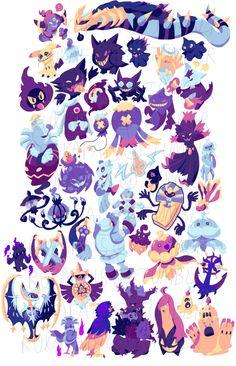 So hey, I drew every single ghost Pokemon! Ghost Pokemon sure are neat, aren't they? Cool Pokemon Wallpapers, Cute Pokemon Wallpaper, Cute Wallpapers, Ghost Type Pokemon, My Pokemon, Cute Animal Drawings, Cute Drawings, Kalos Pokemon, Foto Cartoon