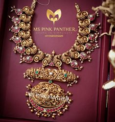 Check out some of the antique South Indian temple necklace designs by the brand Ms Pink Panther. Indian Wedding Jewelry, Bridal Jewelry, Indian Weddings, Romantic Weddings, Indian Bridal, Pearl Necklace Designs, Gold Necklace, Gold Jewelry Simple, Gold Jewellery Design