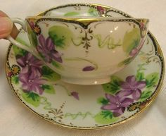 Nippon Cup & Saucer, Hand Painted Violets, Gold & Black Trim