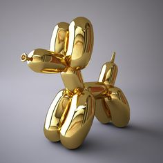 Jeff Koons - 'DOG' ONE OF HIS 'BALLOON ANIMAL SERIES' 5 IN ALL(?)IN X5 DIFF COL'S PER ANIMAL, REFLECTING THEIR DIFFERENT EMOTIONS /THEY'RE MADE FROM CONCRETE & THEN PAINTED W' METALLIC REFLECTIVE PAINT - LOOK GREAT!<3<3<3