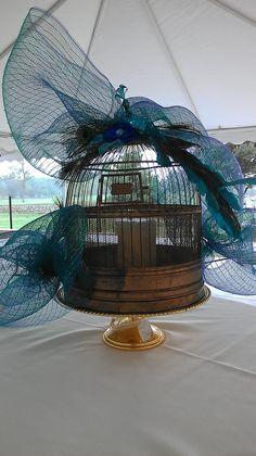 Wedding Bliss - Faded Velvet - altered Vintage peacock birdcage
