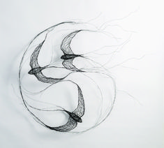 Flying Swifts – wire art by Celia Smith.