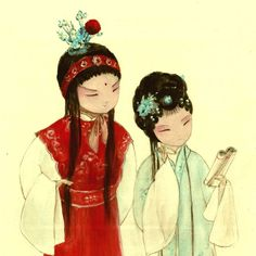"Jia Baoyu and Lin daiyu, characters in a famous Chinese novel ""Hong lou meng"""