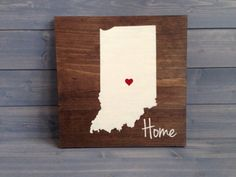 Pick Colors, Indiana Wood Sign, Custom Indiana State Sign, Stained Hand Painted, Personalize, Indiana decor, Irish decor
