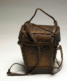 Backpack Basket from the Ifugao people of Philippines ~ Mid 20th century ~ Woven Rattan, Bamboo; Wood