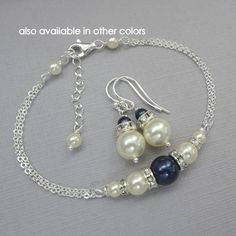 Ivory and Navy Pearl Jewelry Set, Bridesmaid Jewelry, Bridesmaid Gift, Maid of Honor Gift, Mother of the Groom Gift Mother of the Bride Gift