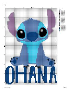 Disneys Lilo and Stitch Ohana cute Stitch kawaii chibi cross stitch pattern experiment 626 Disney Disnerd digital pattern Cross Stitch Patterns Free Disney, Cross Stitch Pattern Maker, Cross Stitch Borders, Counted Cross Stitch Patterns, Cross Stitch Designs, Cross Stitching, Cross Stitch Embroidery, Lilo Und Stitch Ohana, Lilo And Stich