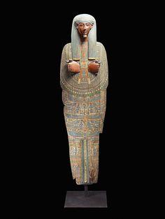 Ancient Egyptian sarcophagus lid, 1080-720 BCE, from the Fondation Gandur pour l'Art, France.