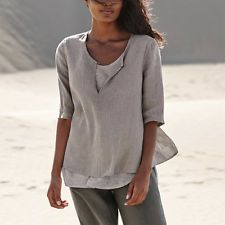 Ladies Linen Cotton Sexy V Neck Casual Blouse Shirts Summer Tops Tunic Plus Size