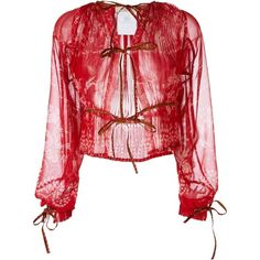 Etro knot detail sheer blouse ($1,010) ❤ liked on Polyvore featuring tops, blouses, red, knot top, see through blouse, red blouse, etro tops and etro blouse
