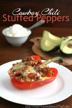 Would definitely have to alter this for a no meat version!  Low Carb Cowboy Chili Stuffed Peppers - Paleo friendly