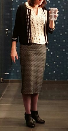 Lacy top and pencil skirt
