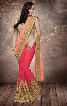 Picture of Ravishing Peach and Soft Red Designer Wedding Saree