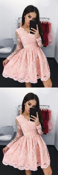 long sleeve pink homecoming dresses,lace homecoming dress,short prom party dress,simple dresses for homecoming